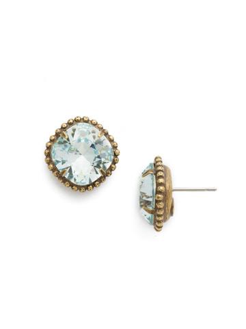 Cushion-Cut Solitaire Earring in Antique Gold-tone Light Aqua