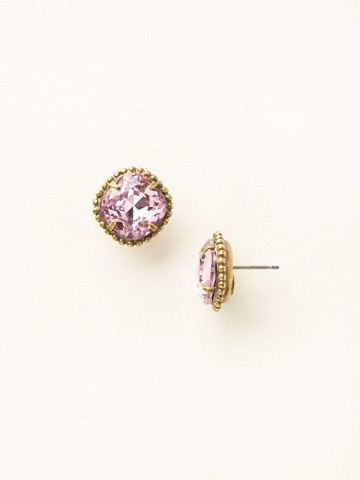 Cushion-Cut Solitaire Earring in Antique Gold-tone Light Rose