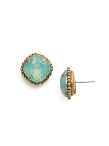 Cushion-Cut Solitaire Earring in Antique Gold-tone Pacific Opal