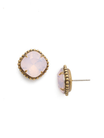 Cushion-Cut Solitaire Earring in Antique Gold-tone Rose Water