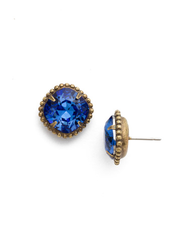 Cushion-Cut Solitaire Earring in Antique Gold-tone Sapphire