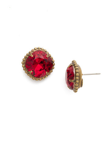 Cushion-Cut Solitaire Stud Earrings in Antique Gold-tone Siam