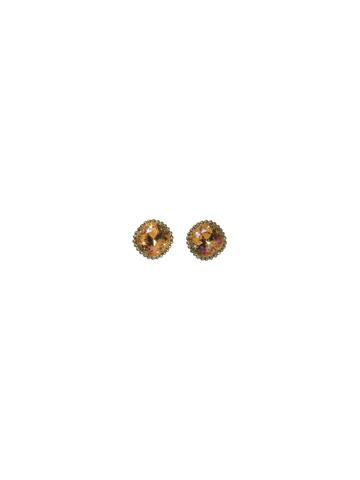 Cushion-Cut Solitaire Earring in Antique Gold-tone Summer Peach