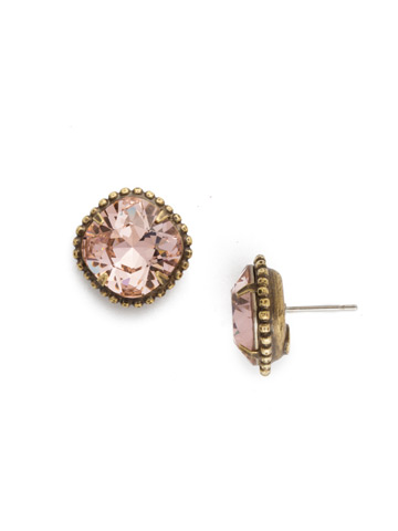 Cushion-Cut Solitaire Earring in Antique Gold-tone Vintage Rose