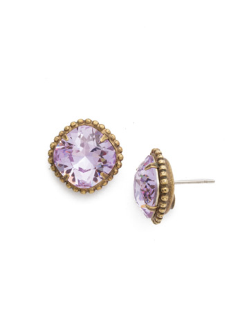 Cushion-Cut Solitaire Earring in Antique Gold-tone Violet
