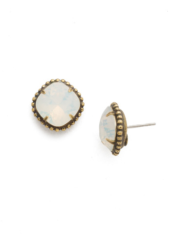 Cushion-Cut Solitaire Earring in Antique Gold-tone White Opal