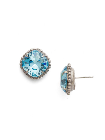 Cushion-Cut Solitaire Earring in Antique Silver-tone Aquamarine