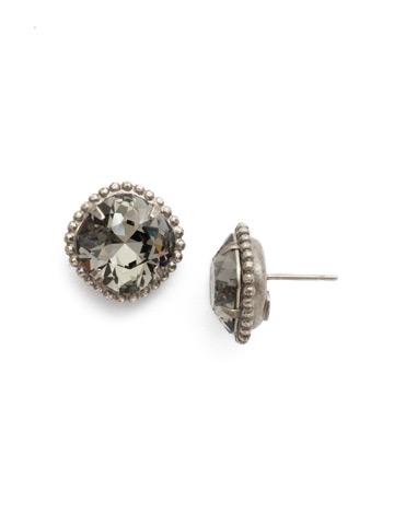 Cushion-Cut Solitaire Earring in Antique Silver-tone Black Diamond