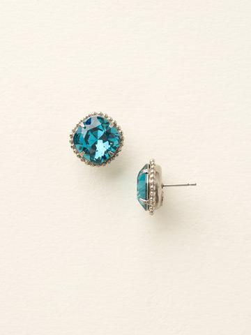 Cushion-Cut Solitaire Earring in Antique Silver-tone Blue Topaz