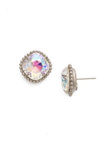 Cushion-Cut Solitaire Earring in Antique Silver-tone Crystal Aurora Borealis