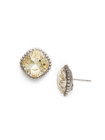 Cushion-Cut Solitaire Earring in Antique Silver-tone Crystal Champagne