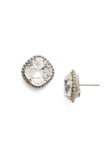 Cushion-Cut Solitaire Earring in Antique Silver-tone Crystal