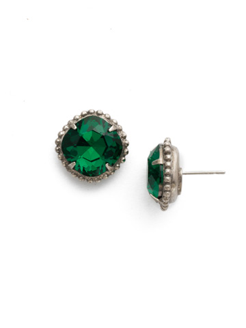 Cushion-Cut Solitaire Earring in Antique Silver-tone Emerald