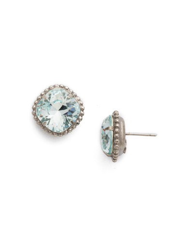 Cushion-Cut Solitaire Earring in Antique Silver-tone Light Aqua