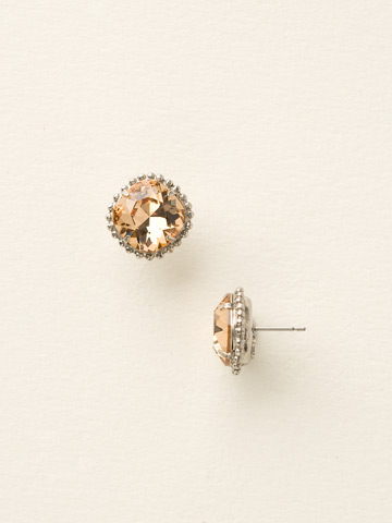Cushion-Cut Solitaire Earring in Antique Silver-tone Light Colorado