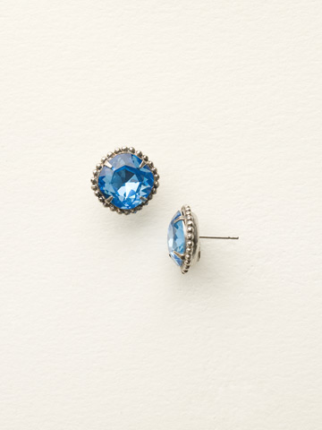Cushion-Cut Solitaire Earring in Antique Silver-tone Light Sapphire