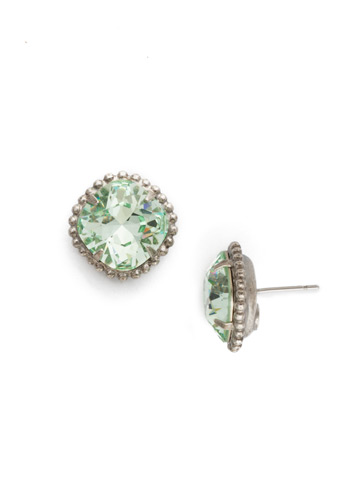 Cushion-Cut Solitaire Earring in Antique Silver-tone Mint