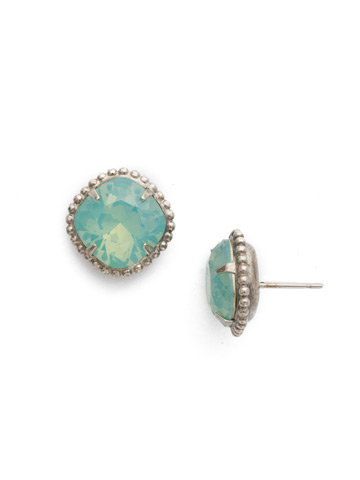 Cushion-Cut Solitaire Stud Earrings in Antique Silver-tone Pacific Opal