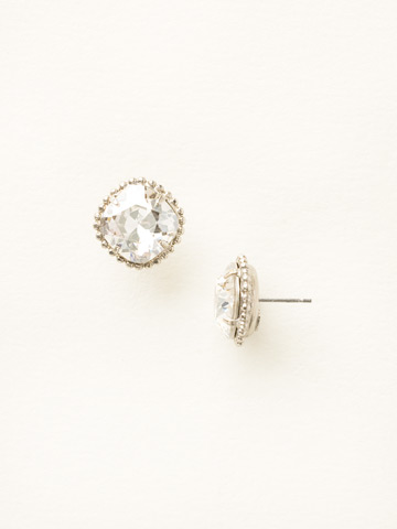 Cushion-Cut Solitaire Earring in Antique Silver-tone Silver Shade