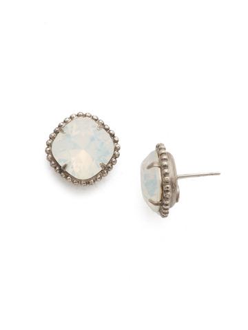 Cushion-Cut Solitaire Earring in Antique Silver-tone White Opal