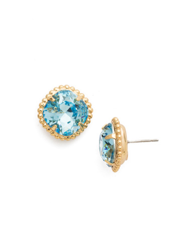 Cushion-Cut Solitaire Stud Earrings in Bright Gold-tone Aquamarine