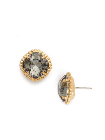 Cushion-Cut Solitaire Earring in Bright Gold-tone Black Diamond