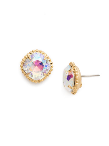 Cushion-Cut Solitaire Earring in Bright Gold-tone Crystal Aurora Borealis