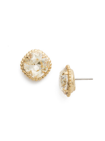 Cushion-Cut Solitaire Earring in Bright Gold-tone Crystal Champagne