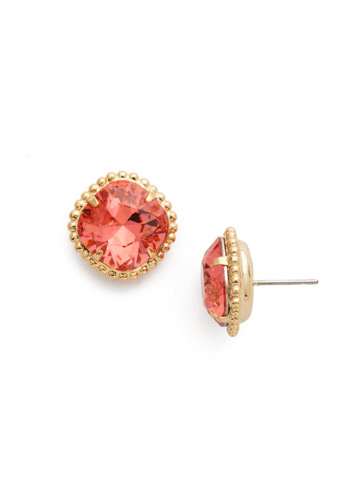 Cushion-Cut Solitaire Earring in Bright Gold-tone Coral