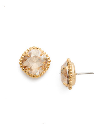 Cushion-Cut Solitaire Earring in Bright Gold-tone Dark Champagne