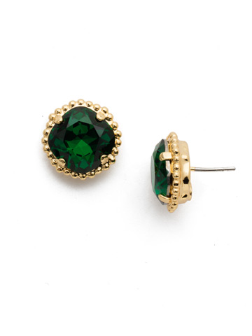 Cushion-Cut Solitaire Earring in Bright Gold-tone Emerald