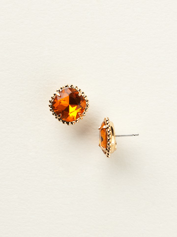 Cushion-Cut Solitaire Earring in Bright Gold-tone Hyacinth