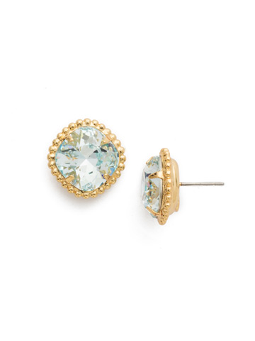 Cushion-Cut Solitaire Earring in Bright Gold-tone Light Aqua