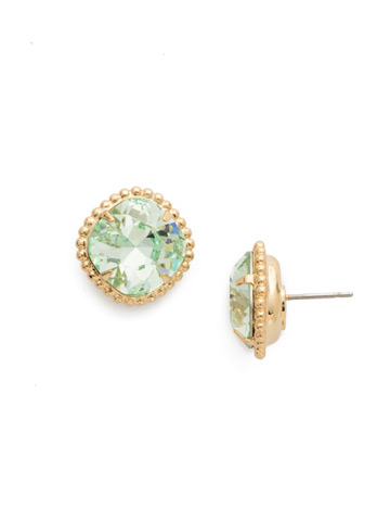 Cushion-Cut Solitaire Earring in Bright Gold-tone Mint