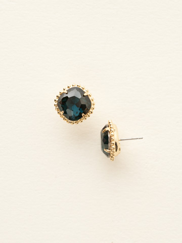 Cushion-Cut Solitaire Earring in Bright Gold-tone Montana