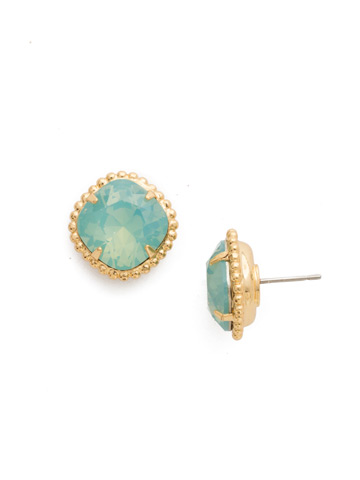 Cushion-Cut Solitaire Earring in Bright Gold-tone Pacific Opal