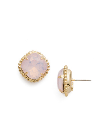 Cushion-Cut Solitaire Earring in Bright Gold-tone Rose Water