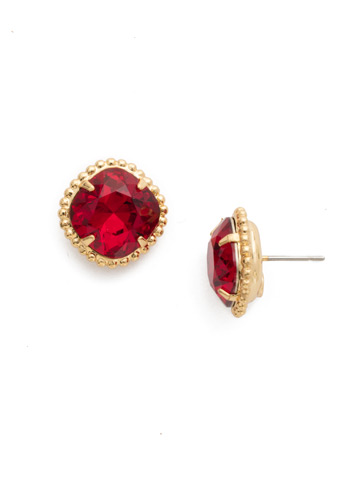 Cushion-Cut Solitaire Earring in Bright Gold-tone Siam