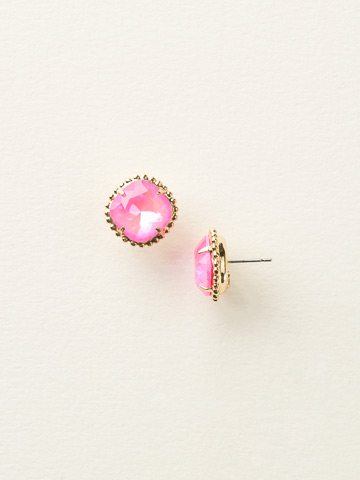 Cushion-Cut Solitaire Earring in Bright Gold-tone Ultra Pink
