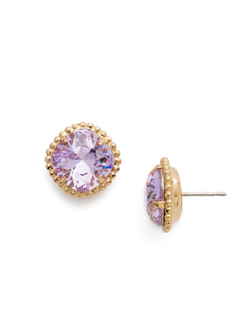 Cushion-Cut Solitaire Earring in Bright Gold-tone Violet