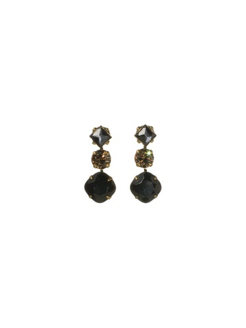 Bold Trio Earring with Square Opaque Stone and Two Crystal Drops in Antique Gold-tone Evening Moon