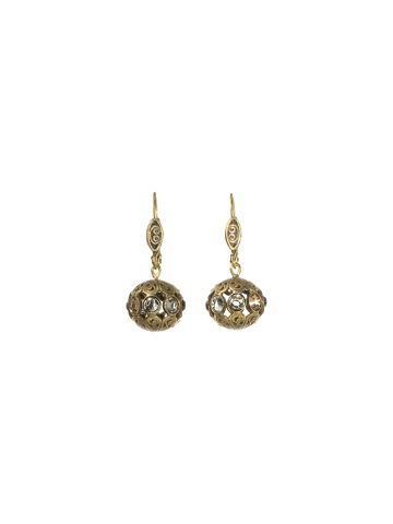 Tiny Filigree and Crystal Sphere Earring in Antique Gold-tone Evening Moon