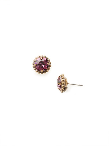 Simplicity Stud Earring in Antique Gold-tone Amethyst