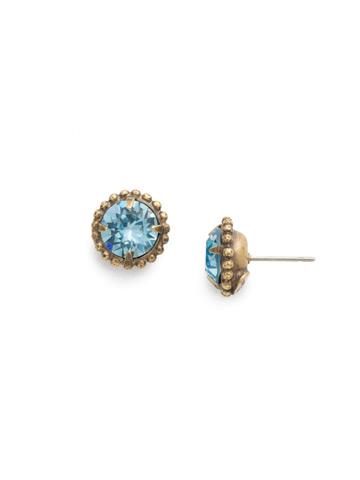 Simplicity Stud Earring in Antique Gold-tone Aquamarine