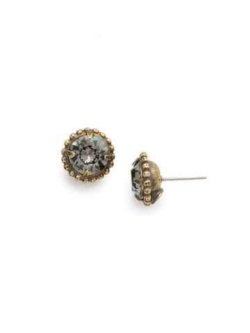 Simplicity Stud Earring in Antique Gold-tone Black Diamond
