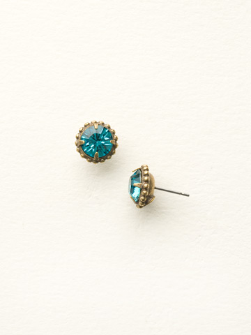 Simplicity Stud Earring in Antique Gold-tone Blue Topaz