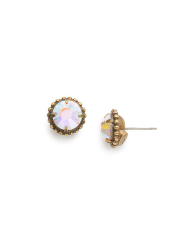 Simplicity Stud Earring in Antique Gold-tone Crystal Aurora Borealis