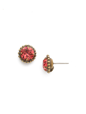 Simplicity Stud Earring in Antique Gold-tone Coral