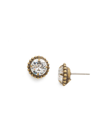 Simplicity Stud Earring in Antique Gold-tone Crystal