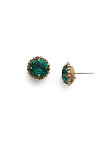 Simplicity Stud Earrings in Antique Gold-tone Emerald